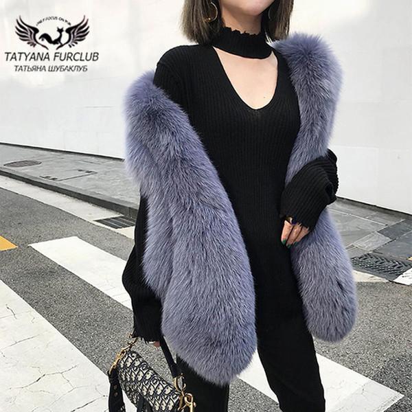 Tatyana 2019 Yeni Kış Ceketler Kadınlar Uzun Fox Kürk Yelek Doğal Fox Fur furclub Moda High Street Stil Gündelik Kürk Yelek SH190930 Tops