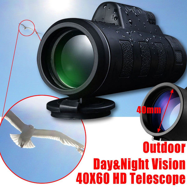 40X60 Monocular de alta potencia BAK4 Prism Eyepiece HD Night Vision Mini Monocular Caza al aire libre Camping telescopio de gran angular