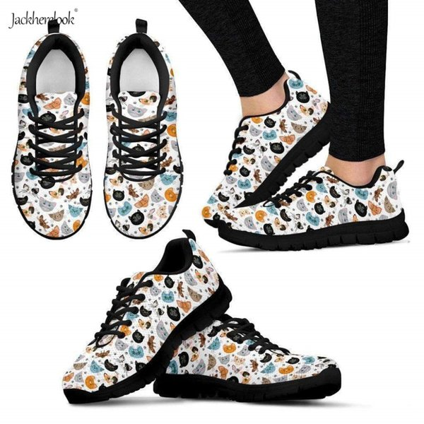 Jackherelook Fashion Outdoor Sport Shoes Adorable Kittens Faces Modello 3D Light Running Shoes Maglia confortevole Sneakers