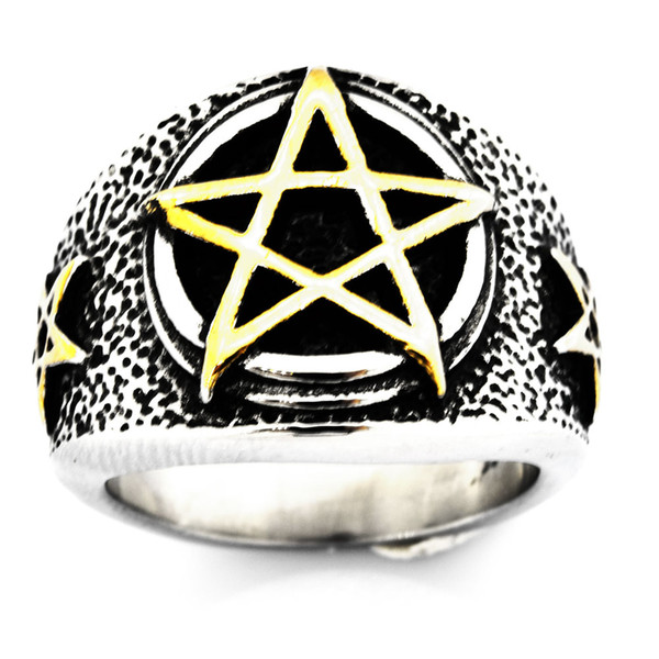 Custom made stainless steel mens or wemens jewelry VINTAGE PUNK Pentagram five pointed Star Ring GIFT FOR BORTHERS FSR20W71