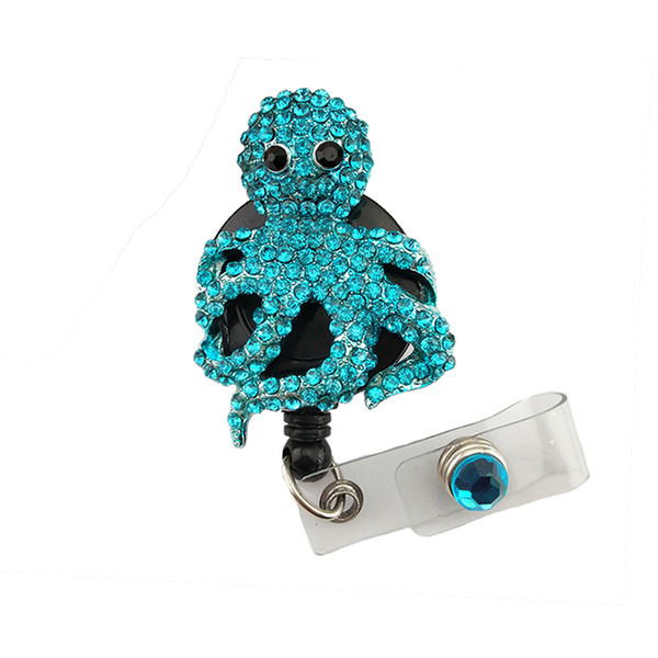 20pcs/lot New Design High Quality Blue Rhinestone Octopus Animal Retractable ID Card Blingbling Badge Reels with Clips