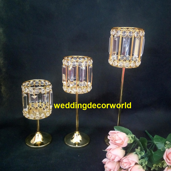 New style Metal Golden Candle Holders Hollow Crystal Wedding Table Candelabra Centerpiece Flower Rack Road Lead For Home Decor best0572