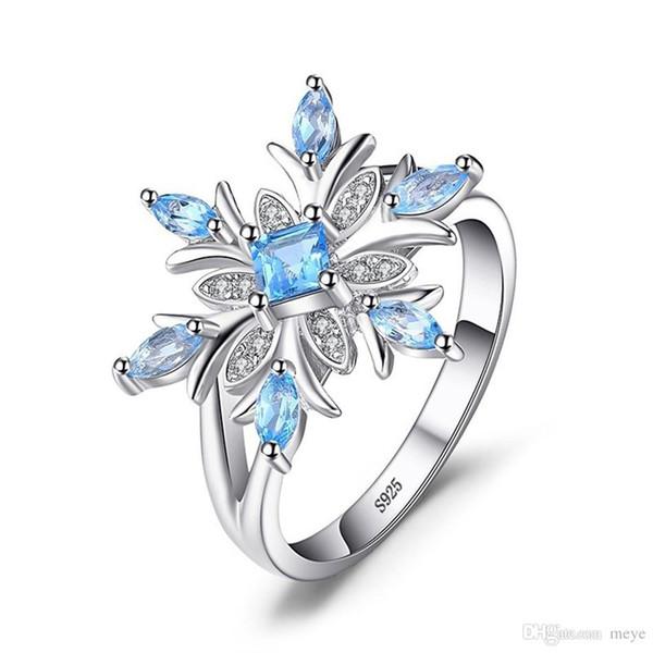 Blume Hellblau Zirkon Verlobungsring für Weibliche Mode Beliebte Strass Hochzeit Ringe für Frauen Schmuck HFJ-012