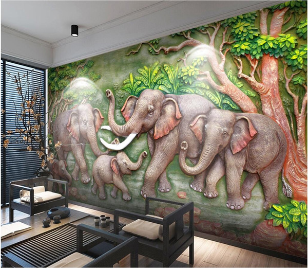 WDBH custom photo mural 3d wallpaper Chinese elephant big tree relief tv background wall home decor living room wallpaper for walls 3 d