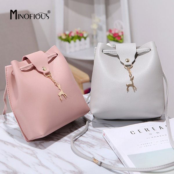Cheap MINOFIOUS Fashion Casual Phone Coin Shoulder Bag Small Women PU Leather Messenger Bags Solid Hasp Bucket Crossbody Mini Bag