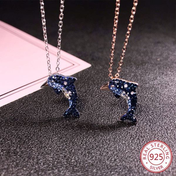 100% S925 sterling silver pendant necklace personality fashion creative blue dolphin shape inlaid ochre clavicle chain jewelry