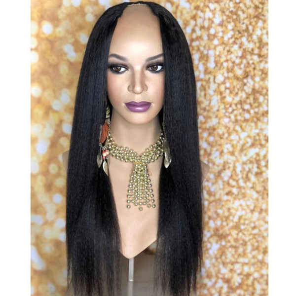 Human Hair U Part Wigs Silky Straight 100% Peruvian Remy Hair Wig Middle Part With Natural Color 150% Density