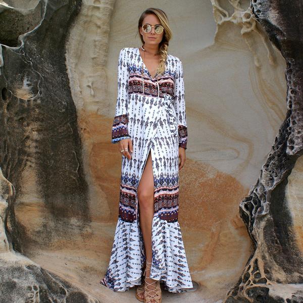 robes d'été longues femmes bohème longue jupe robe d'été de plage 2019 nouvelle mode vêtements pour femmes adultes Somx86