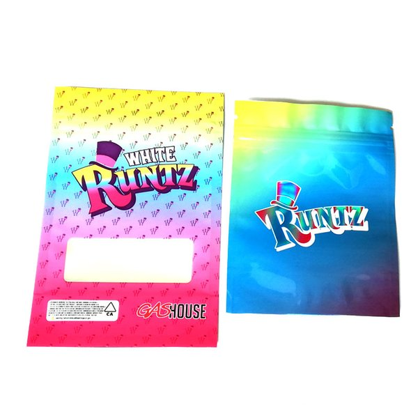 Runtz Bag HOLOGRAPHIC Style 3.5g Mylar Bags Stand Up Pouch Smell Proof With Hat Ziplock Package Contain Dry Herb Flowers dhl free