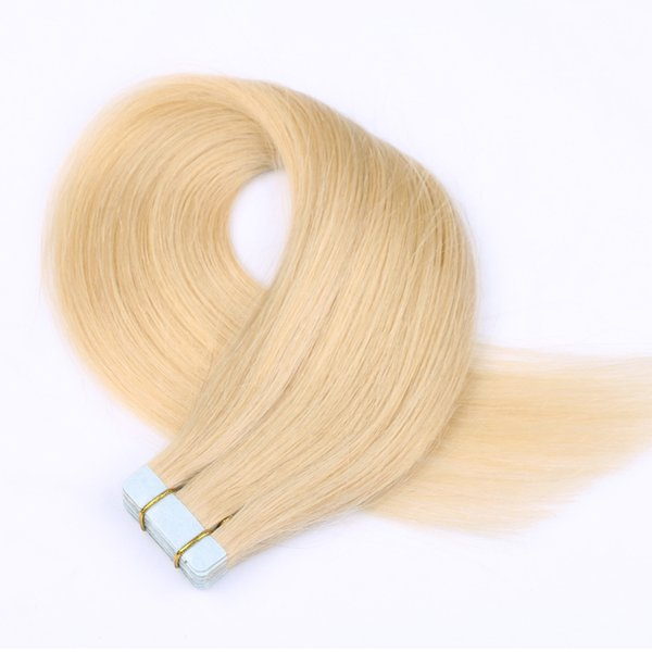 Moresoo Tape Human Hair Extensions Straight Remy Hair Seamless Skin Weft Bleach Blonde Color #613 20pcs/50g Glue in Hair Extensions Real Hum