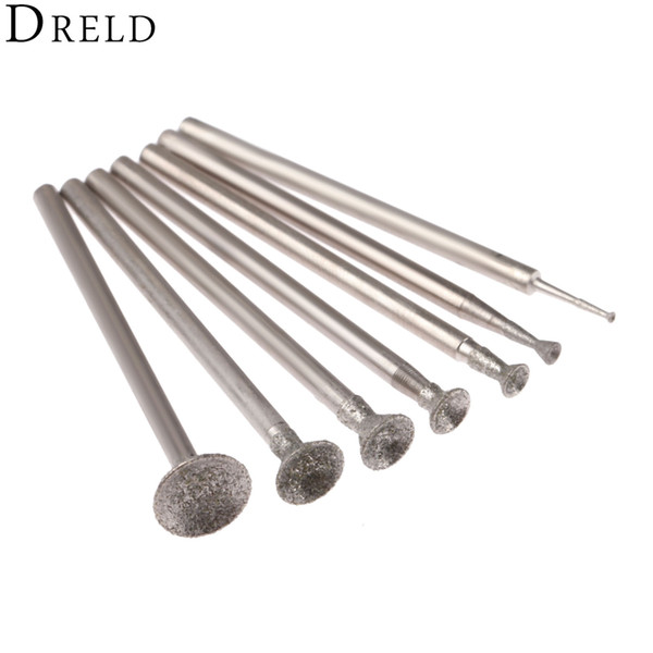 top popular brasive Tools DRELD 7Pcs 1-8mm Diamond Grinding Head Mounted Points 2.35mm Shank Spherical Concave Jade Carving Burrs for Dremel Rotary T... 2019