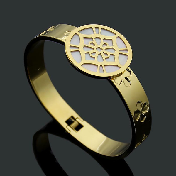 Hot brand high quality titanium steel 18K gold rose silver round hollow bracelet four leaf pattern white shell bracelet
