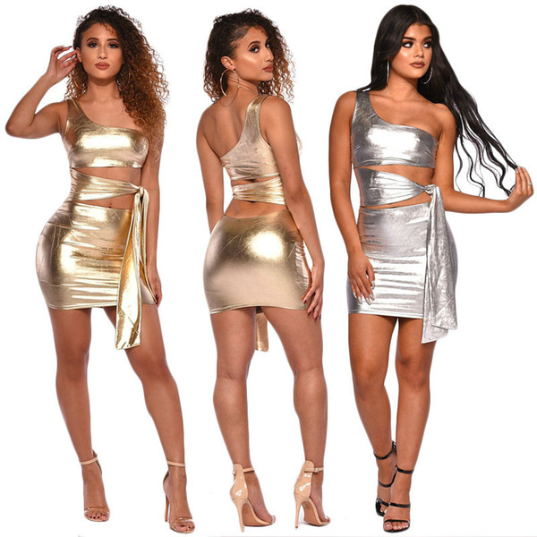 Sexy Nightclub Tops and Skirt One-shoulder Womens Two Piece Set Sleeveless Skinny Skirts Sets Perform Party Clothes