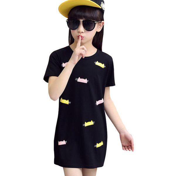 2019 summer new big virgin girls T-shirt round neck long section of thin models cartoon cat printed short-sleeved t-shirt dress