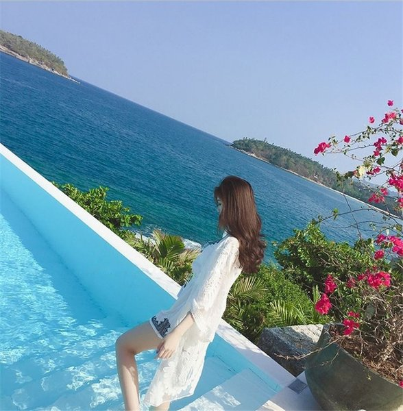 Hot Kreis Kreis Blumenspitze bestickten Sonnenschutz Strickjacke Urlaub am Meer Bluse