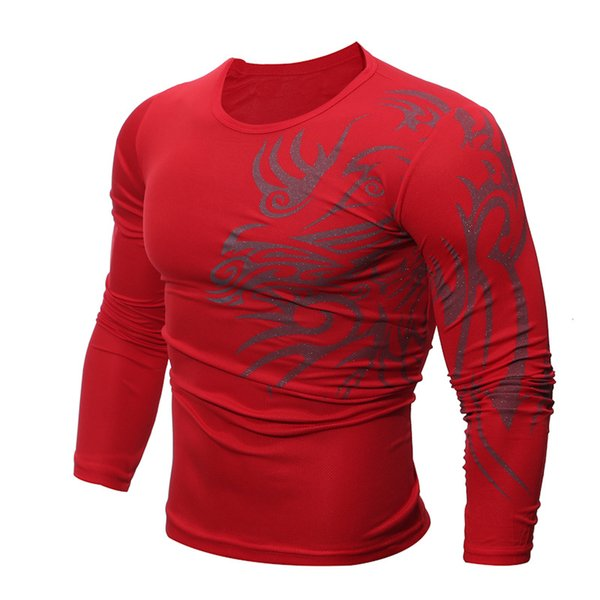 Casual Male Solid White Black T Shirt Print Long Sleeves Workout Top Male T-Shirts Mens Tattoo Print Red Fitness Tee Shirt Homme