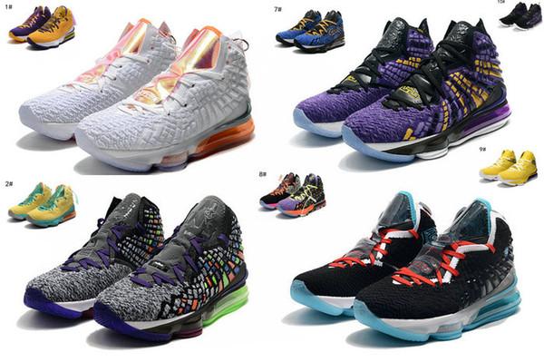 2019 yeni LeBron 17 Erkek Basketbol Ayakkabı Çok Renkli / Sarı / Mor kaliteli James XVII Geleceğin Hava colorway Limited Yayım erkek spor ayakkabısı