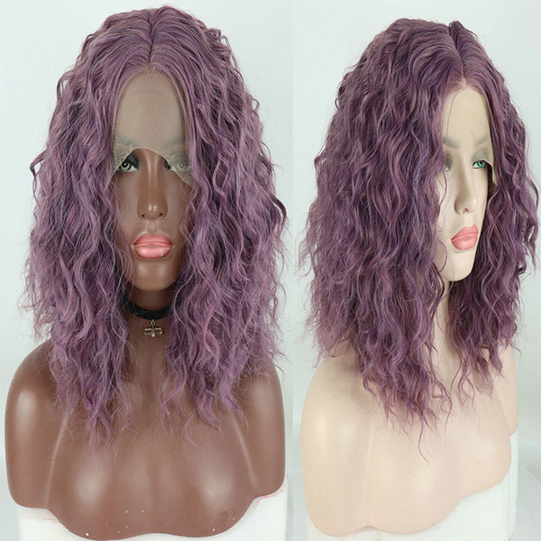 Mix Lavender Purple Short Bouncy Curly Bob Synthetic Half Hand Tied Lace Front Wig Heat Resistant Fiber Hair For Women