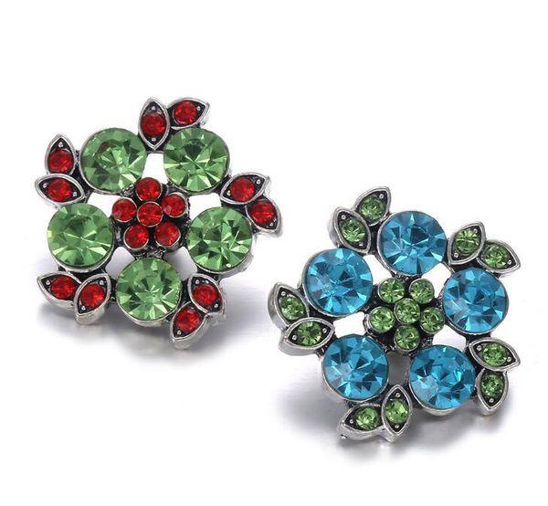 10 Unids Nueva Joyería Broche Completa Flor de Cristal 18mm Botones a Presión de Metal de Cuero de Plata Pulsera con Botón a Presión para Mujeres 2019