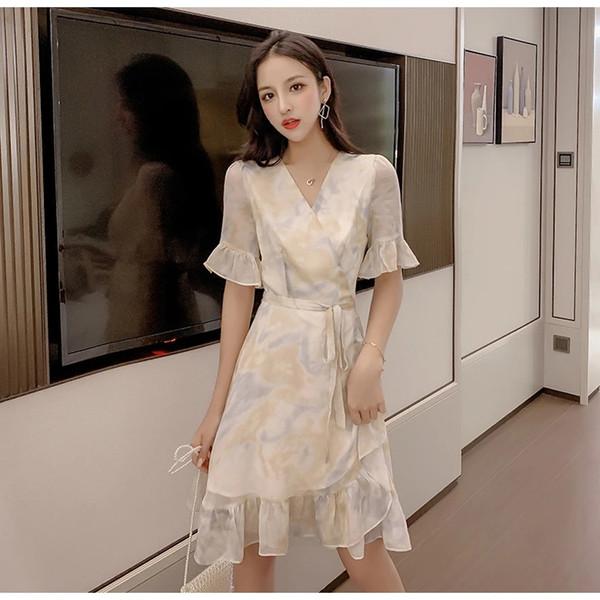 2019 Летний французский новый принт Мода Элегантное шифоновое платье с коротким рукавом