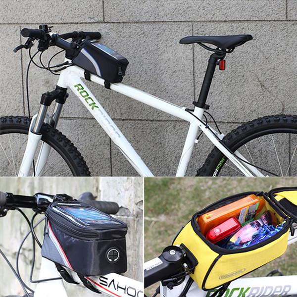 Fahrrad taschen touchscreen radfahren oben vorne rohr rahmen saddbags le moiblephone taschen beutel für samsung s9 s8 iphone xs x 7 8 plus