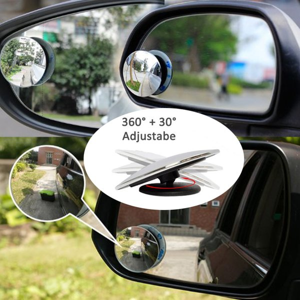 2PCS Car Interior Rearview Mirror Sub 360 Degree Rotatable Car Blind Spot Mirror Auto Saftety Mirrors