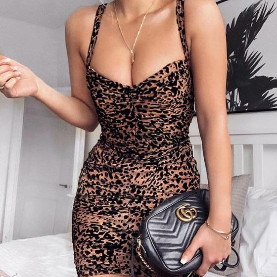 Vestido sexy para as mulheres verão venda quente das mulheres cinta de espaguete leopard print dress com drapeado senhoras estilo boate vestidos tamanho asiático s-l