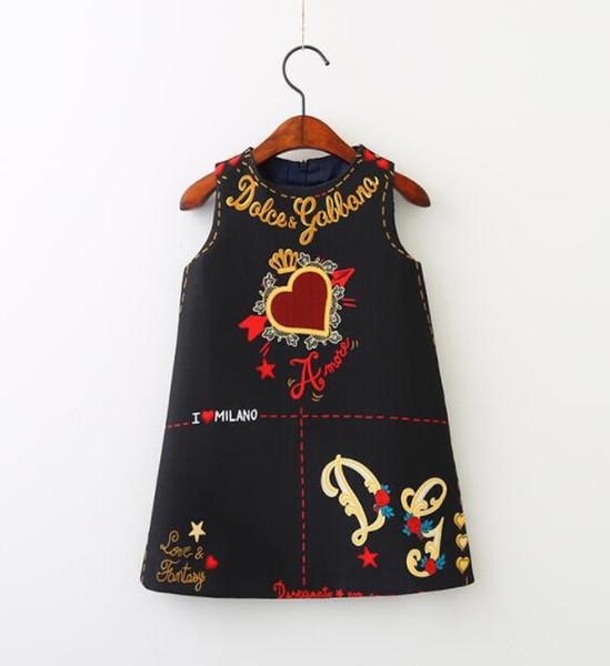 New styles Girl Dress Love Heart Letters princess dresses Fashion Sundress Sleeveless Black White Children Clothing