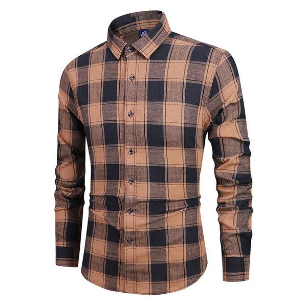 2019 Nuovo Modis camicia degli uomini a maniche lunghe Camicia Uomo Button couverture collare Pittura Camice casuali Top Camisa sociale Masculina