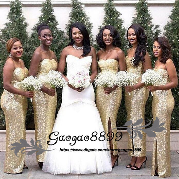 2019 sexy Mermaid strapless Gold Sequined Bridesmaid Dress Ruched Sequin Elegant Long side split Cheap Bridesmaid Dresses for Wedding Party