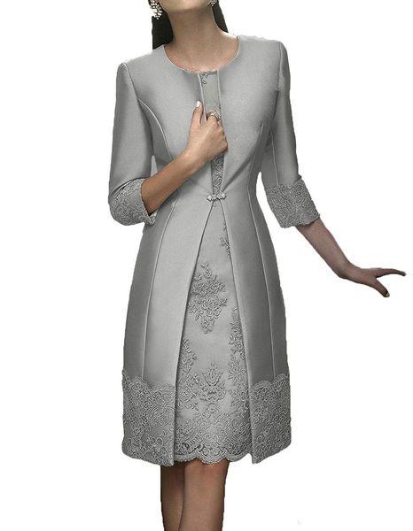 Elegante Hüllen Sliver Mutter Formal Wear mit Jacke Abend-Satin-Spitze-Kurzschluss-Partei Wedding Guest Kleid Mutter der Braut-Kleid-Klage-Kleid