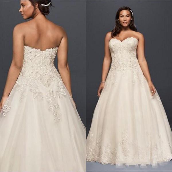 Vestidos de novia de playa 2019 Vestidos de novia de una línea de tren de barrido de novia con apliques de encaje Vestidos de novia de talla grande