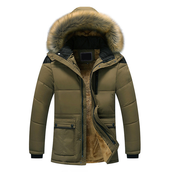 Plus Size 5X Fur Collar Hooded Men Winter Jacket Fashion Warm Wool Liner Man Outerwear Coat Windproof Male Parkas casaco 8J0705