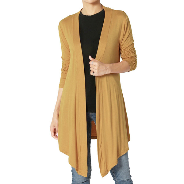 Autumn Women Cardigan Sweater Basic Solid Lightweight Jersey Knit Open Front Long Cardigan Casual Outwear Sweater
