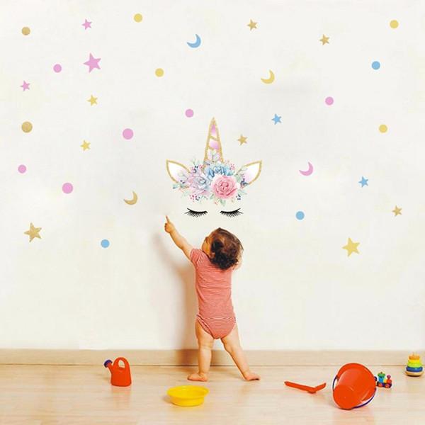 Kids Bedroom Living Room Decals Kindergarten Nursery TV Backdrop Wallpaper decor Unicorn Long Eyelashes Multi Star Moon Dots Wall Stick