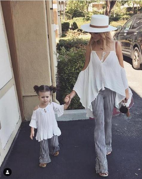 Mother and daughter matching outfits girls tassel lace-up Bows dew shoulder blouse+stripe flare pants 2pcs sets fashion kid clothes F7938