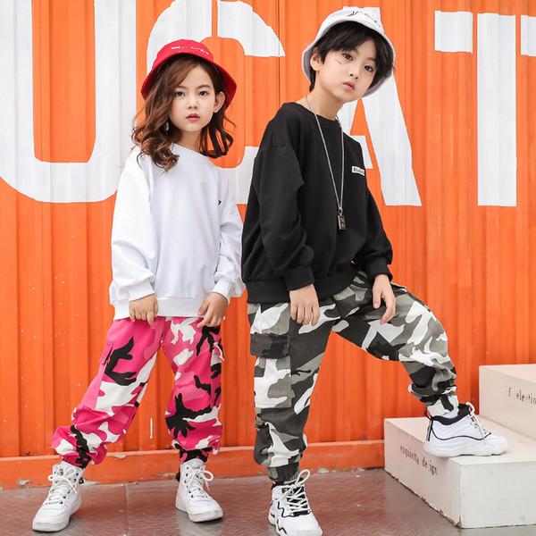 Kid Hip Hop Kleidung Freizeithemd Sweatshirt Top Camouflage Hosen für Mädchen Jungen Jazz Dance Kostüm Ballsaal Kleidung Tragen