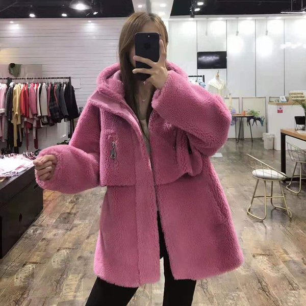 9 colors wool fur coat thick warm new fashion women clothes winter parka sheep fur hooded faux leather jacket plus size overcoat