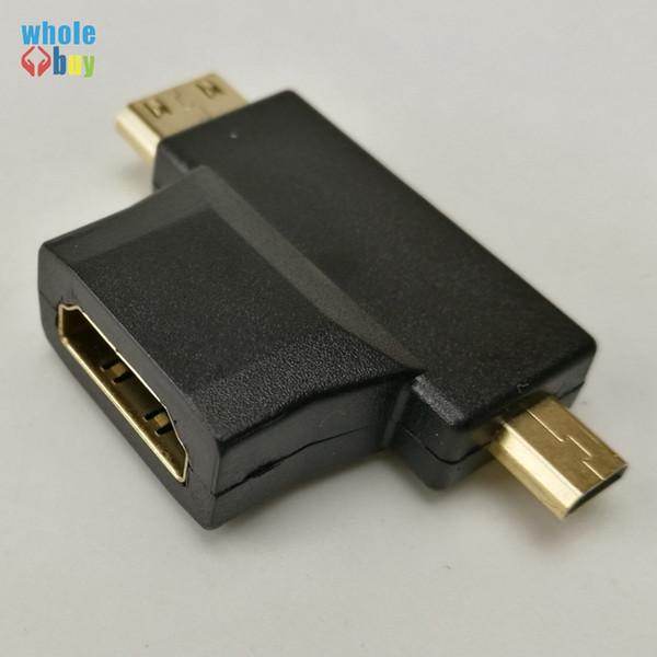 Top Vendita Mini 3 in 1 HDMI Femmina a Mini HDMI Maschio + Micro HDMI Maschio Adattatore Metallo / Plastica Connettore Nero Spedizione gratuita 300 pz / lotto