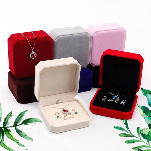 Caixa De Jóias De Veludo Para Anéis Brinco Colar Set Display Quadrado Embalagem Rangement Bijoux Caixas De Presente Para Jóias Por Atacado