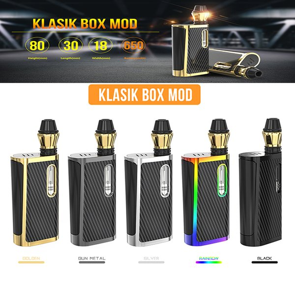 100% Authentic Kangvape Klasik Box Mod Kit 650mAh Preheat Battery Variable Voltage Vape Pen Starter Kit For 510 Thread 5 Color Free Shipping