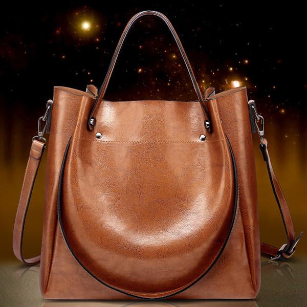 Женская кожаная сумка большой емкости для женщин Сумки через плечо Женская сумка через плечо для девочек Высококачественные винтажные женские сумки
