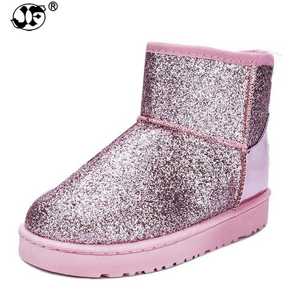 2018 Bling Glitter Snow Boots Women Thick Fur Warm Flat Platform Cotton Sequined Cloth Ankle Boots Winter Shoes dfg67