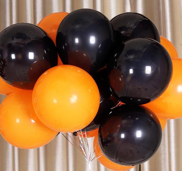 10 Adet / torba 10 inç Cadılar Bayramı Düz Renk Lateks Balonlar Siyah / Turuncu Balon Doğum Günü Festivali Bar Tema Parti sahne Için sahne Dekor Kaynağı