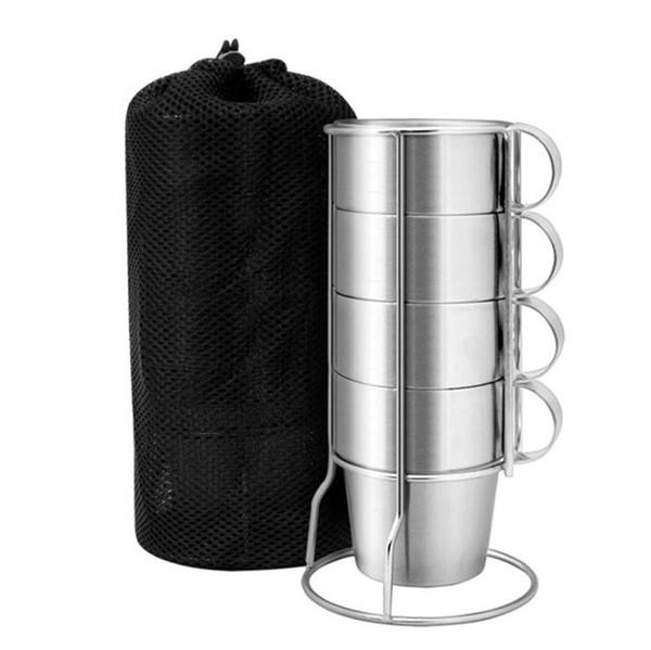 Coffee Cup Aço Picnic 4pcs Outdoor inoxidável Duplas Hot caneca de cerveja para Camping Caminhadas Pesca Acessórios de café