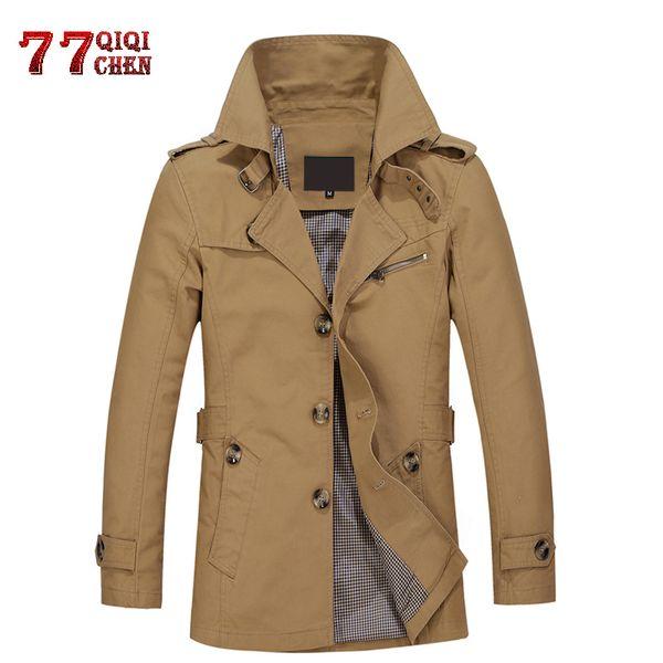qiqichen tactics male overcoat long jacket coat men's 100%cotton trench coat slim fit trenchcoat masculina windbreaker outwear