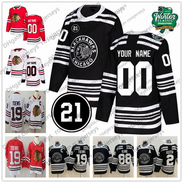Custom Chicago Blackhawks 2019 Winter Classic Black Jersey 21 Any Number Name men women youth kid White Red DeBrincat Gustafsson Kane Toews
