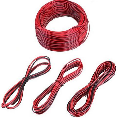 top popular 20 meters Electrical Wire Tinned Copper 2 Pin AWG 22 insulated PVC Extension LED Strip Cable Red Black Wire Electric Extend Cord 2021