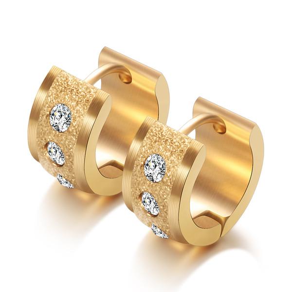 best selling 4 Styles Unisex Hoops Earring 316L Stainless Steel Hoop Earrings With Crystal Hoop Earrings For Women & Men Dropshipping