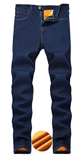 Lingswallow Mens com forro de lã Jeans Slim Fit estiramento Thicken Inverno Jeans quentes